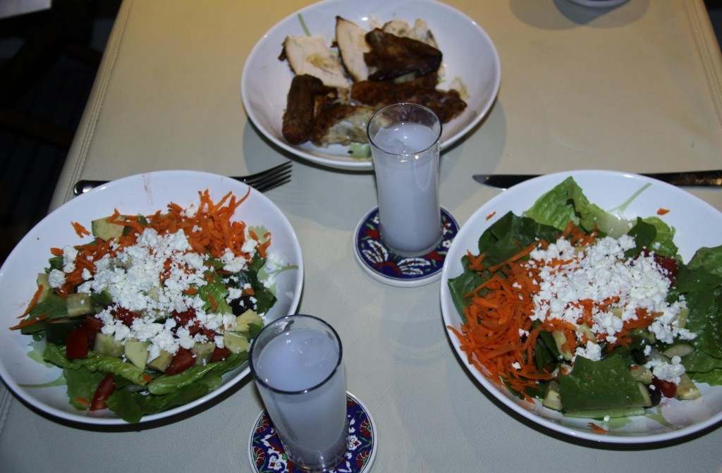 A Simple Delicious Dinner Aboard of Salad, Chicken and Raki