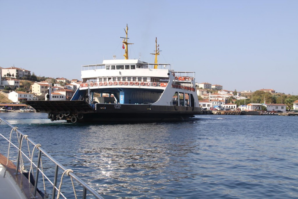 A Vehicle and Passenger Ferry Arrives as we Make Our Departure