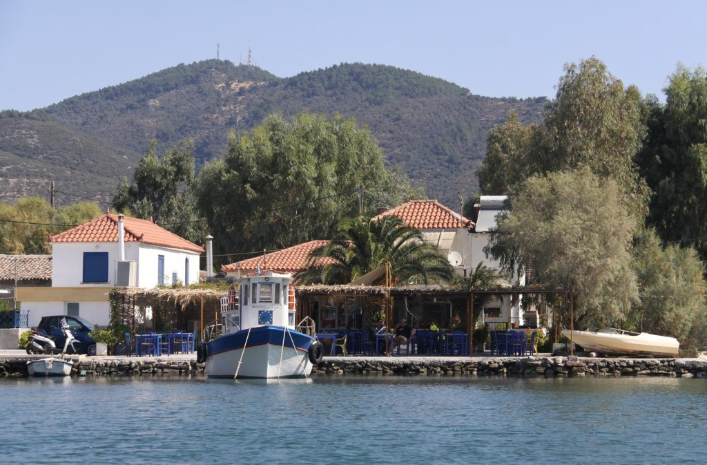 The Small Port of Skala Loutra Appears to have a Cafe Conveniently Positioned by the Water