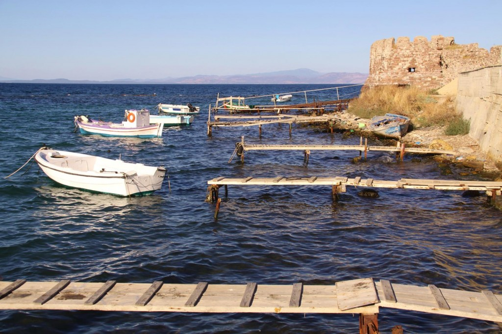 Small Wooden Jetties Service a few Small Local Dinghies by the Castle