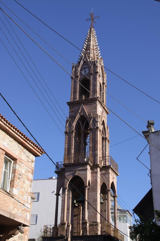 The Church of Agios Therapon in the Old Town Area, Towers Above Mitilini's Skyline