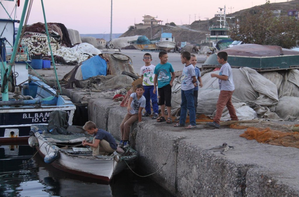 Local Young Boys Already Interested in Fishing and Spending Time Around the Port
