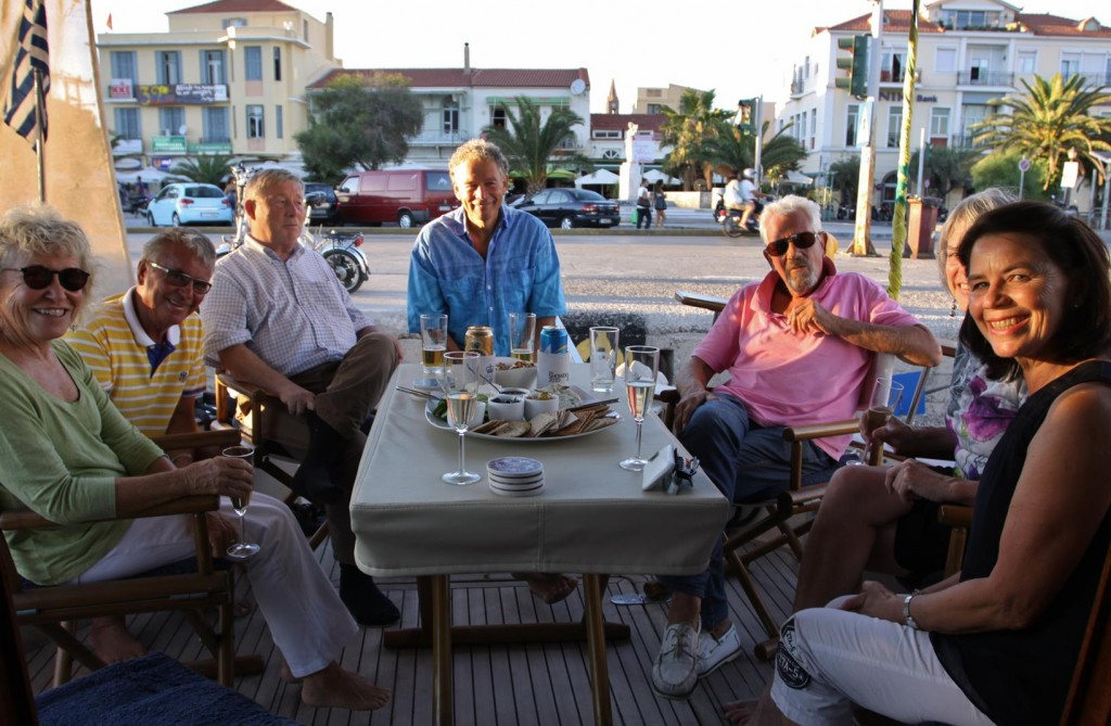 Our Belgium,Dutch and American Sailing Neighbours Join Us for a Drink  Aboard the Tangaroa in Mitilini