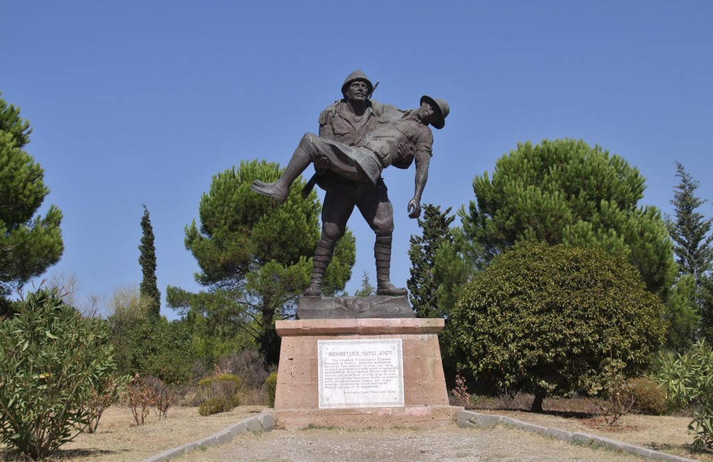 A Famous Statue at Chunuk Bair of a Turkish Soldier Carrying a Wounded British Captain