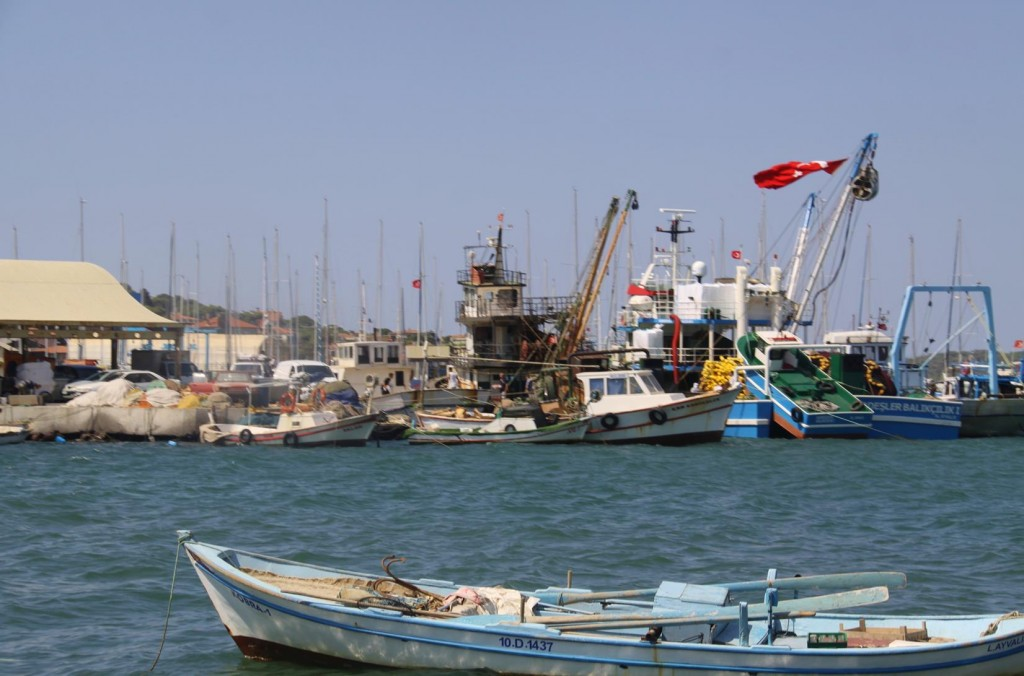 Local Fishing Boat Moored in the Old Port Area of Ayvalik