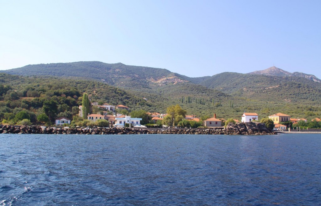 We Pass Delightful Small Greek villages on Our Way Down the East Coast to Mitilini