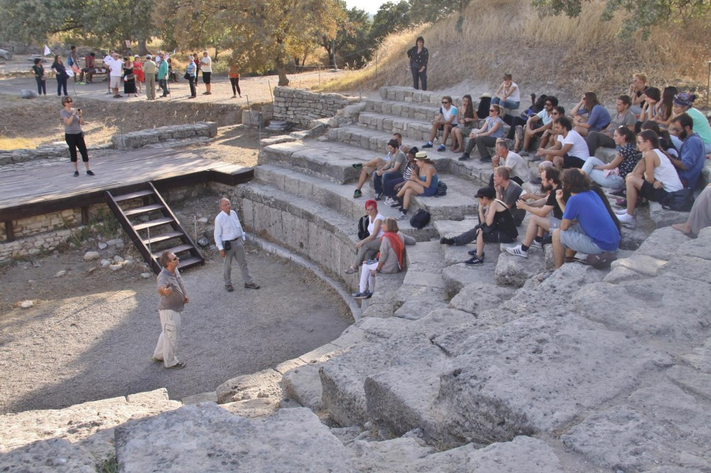 Before Departing Troy we Passed  a Tour Group at the Small Amphitheatre