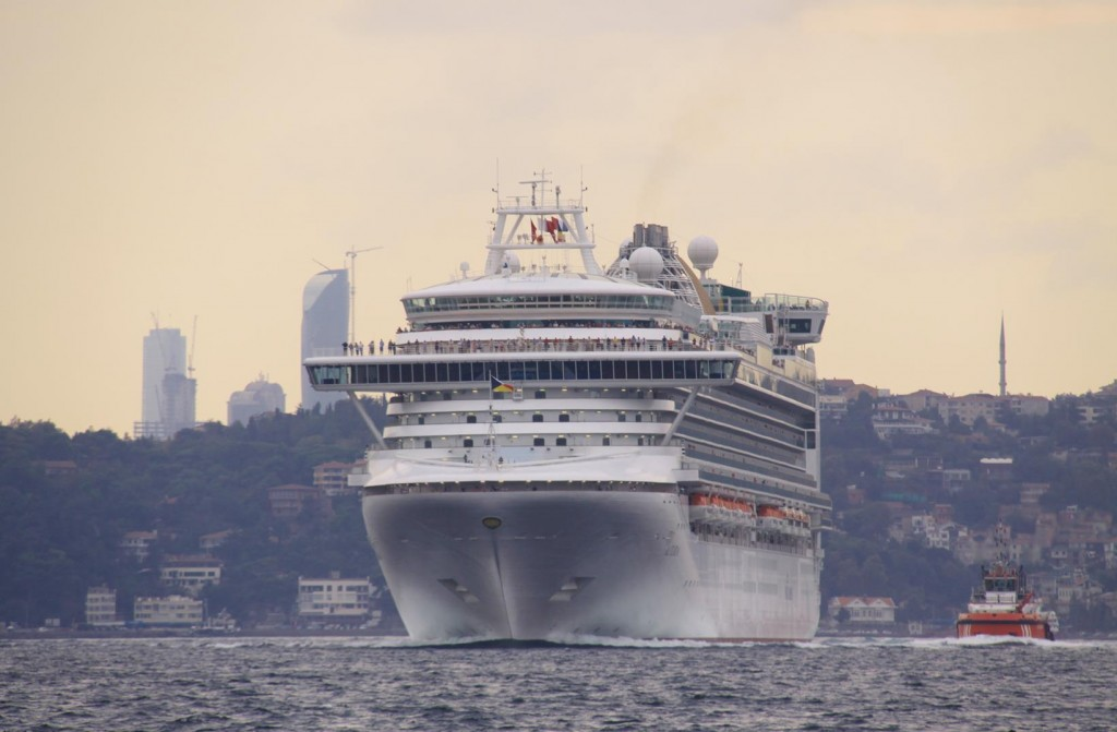 A Large Cruise Ship Appears at Our Stern