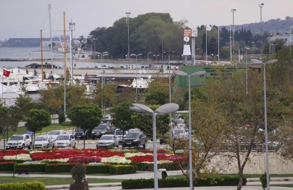 In the Distance is the Tangaroa  in the Setur Marina Yard
