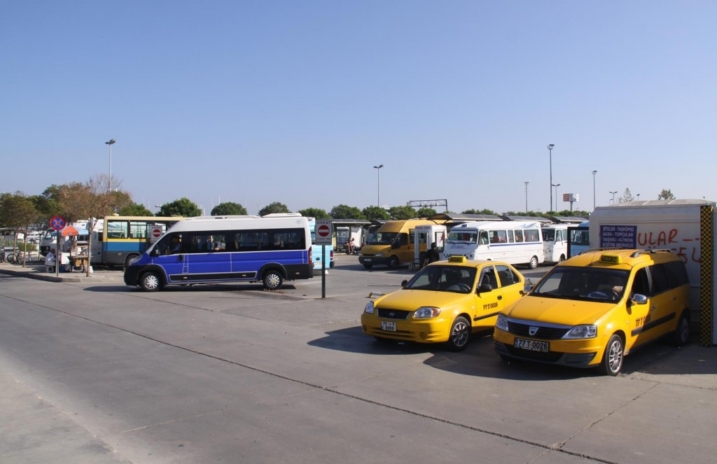 A Team of Taxis by the Ferry Terminal was Handy  for Us