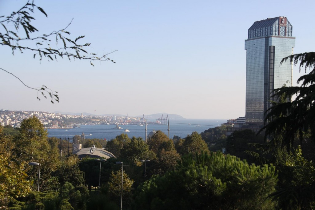 Looking out over the Bosphorus is the Ritz Carlton Hotel