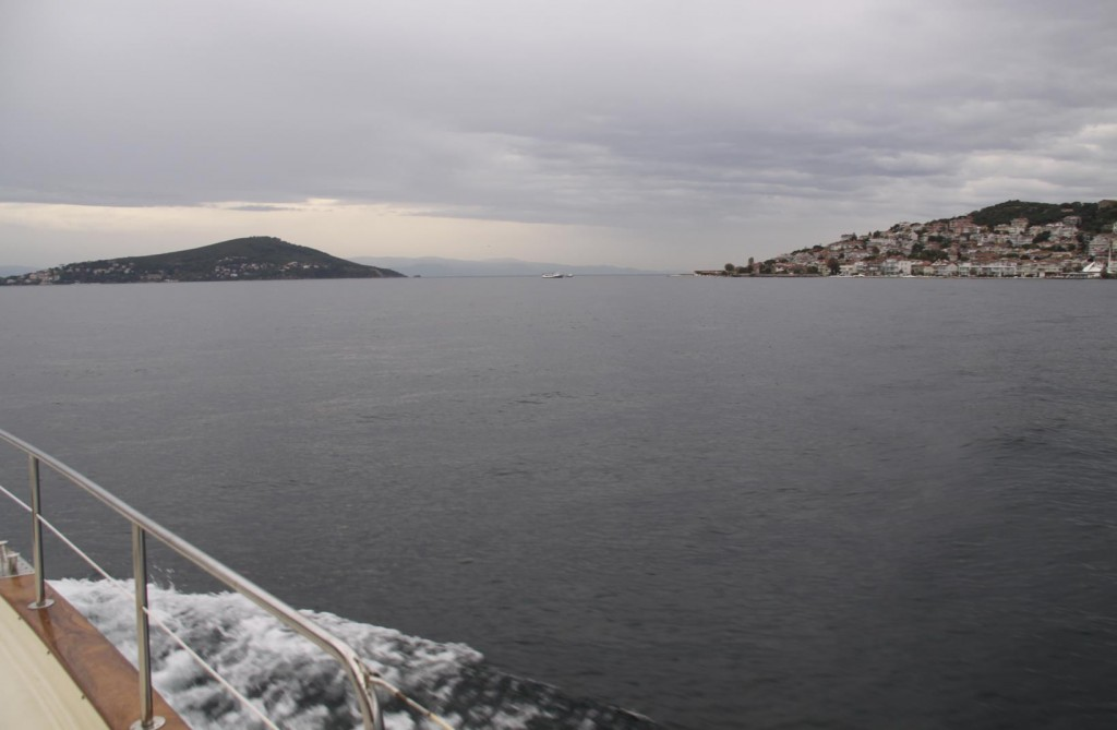 The Sea is much Calmer around the Princes Islands which are not far from the huge City of Istanbul