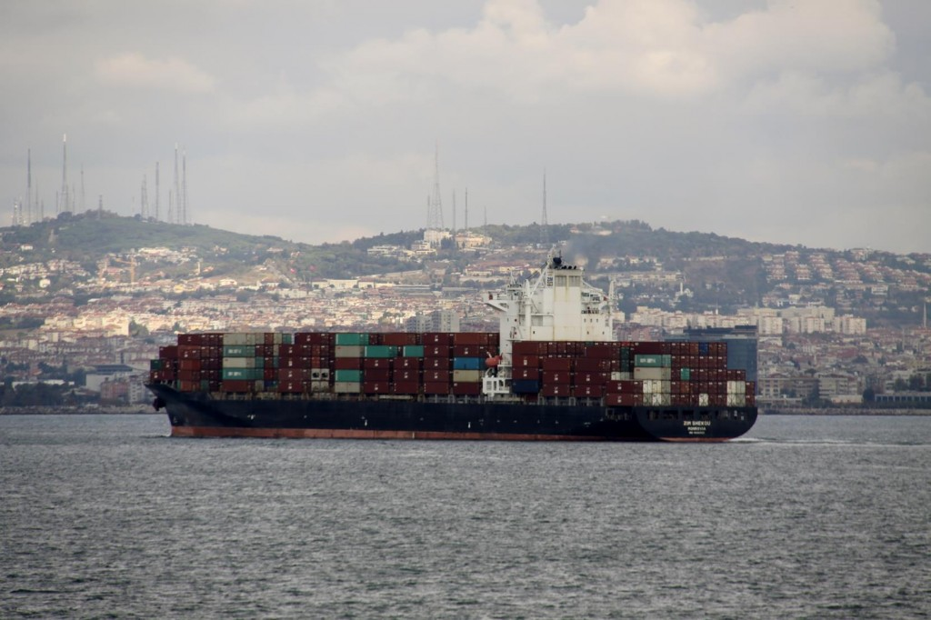 As we Approach Istanbul huge Cargo Ships await their turn to enter the Bosphorus