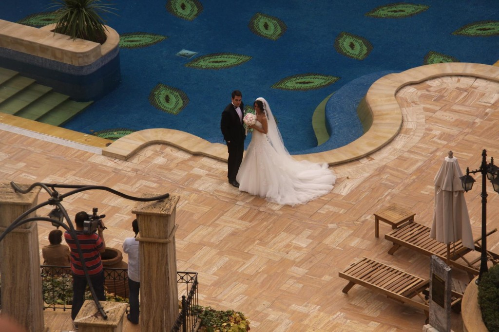 Arriving at our Hotel in Taksim, a Wedding Photographer was busy by the Pool
