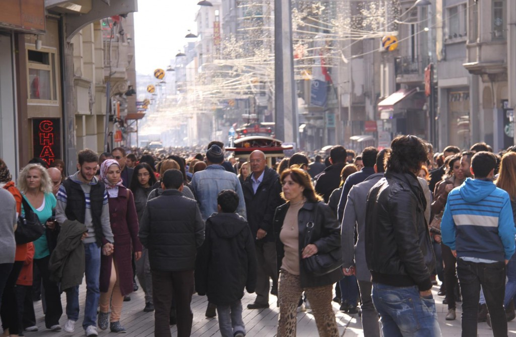 Many Thousands of People in Istiklal Avenue late this Afternoon