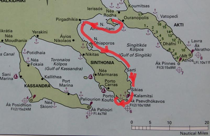 Ammouliania Island to Porto Koufo