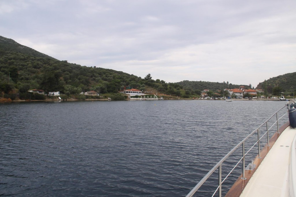 Approaching the almost Enclosed Bay called Porto Koufo