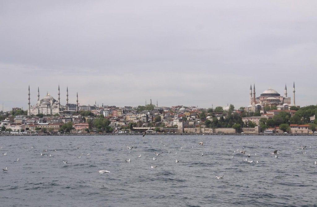 Travelling West towards the Bosphorus Strait, the Blue Mosque and Hagia Sofia Appear