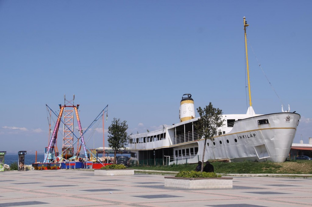 "The Golden Horn Ferry ""INKILAP"" now rests on Land by the Water in Yalova"