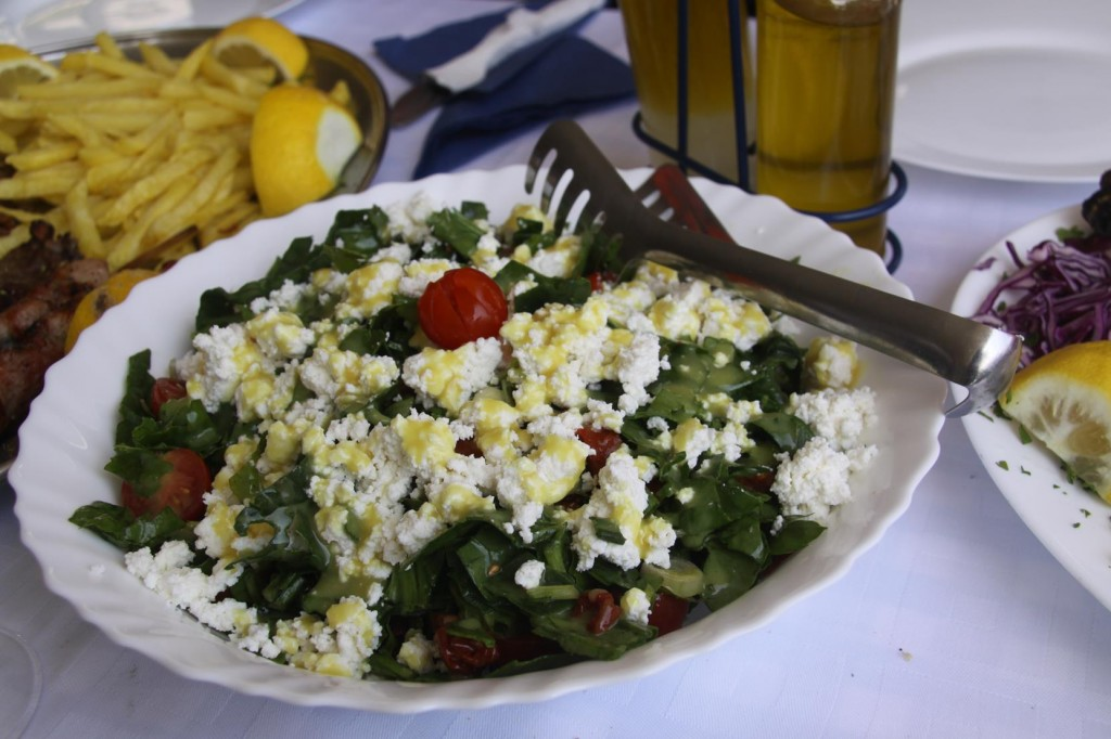 An Amazing Salad with Locally Grown Greens and the most Delicious Goat Fetta Cheese