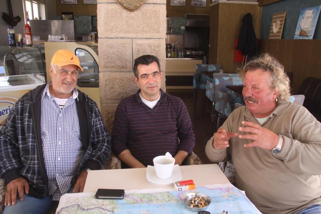 Our New Friends Yanis (John), Cafe Owner Naftilos and Panagitus (Ringman)