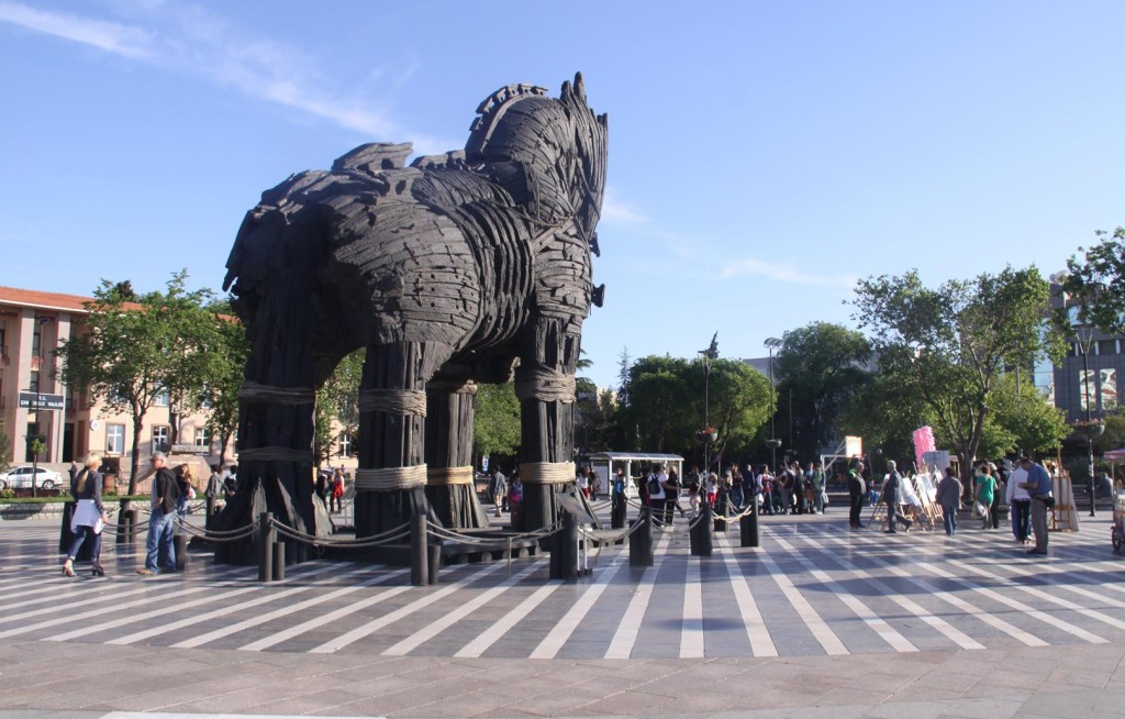 """The Trogan Horse Erected in the Open Square by the Marina in Canakkale was  Used in the Movie """"Troy"""" Starring Brad Pitt"""