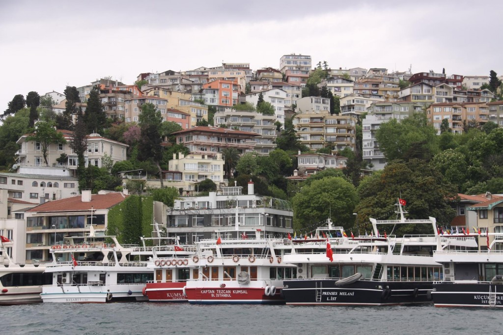 Many Ferries Line the Shores at Arnavutkoy In the Bosphorus
