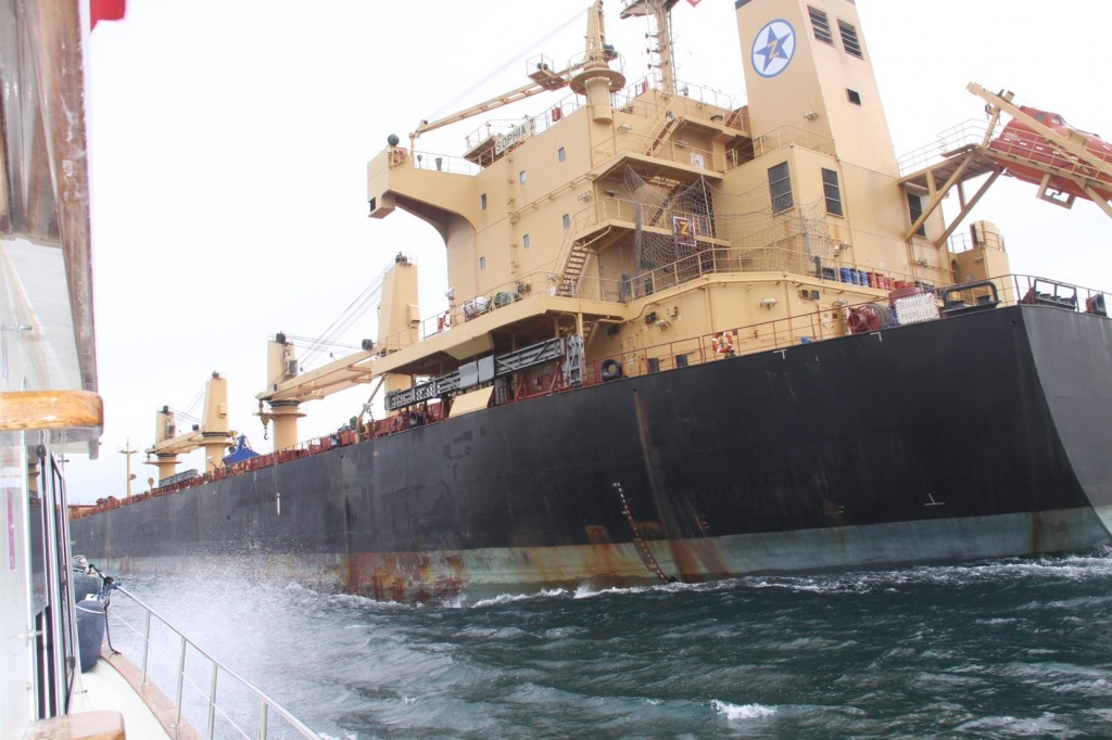To Prevent an Uncomfortable Wash from the Huge Ship we Turn Quickly into it's Wake