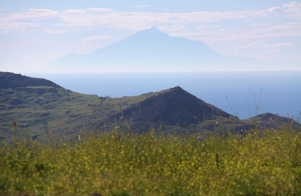Looking West In the Distance, Mount Athos on the Akti Peninsular can be Seen