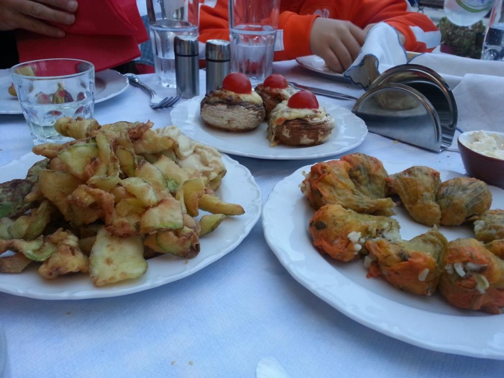 Stuffed Zucchini Flowers and Fried vegetables