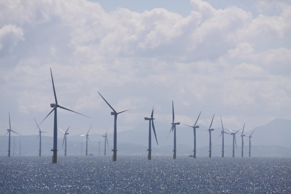 Nearing the West Coast of England by Liverpool Rows and Rows of Thousands of Wind Turbines make a Spectacular Display Over the Water