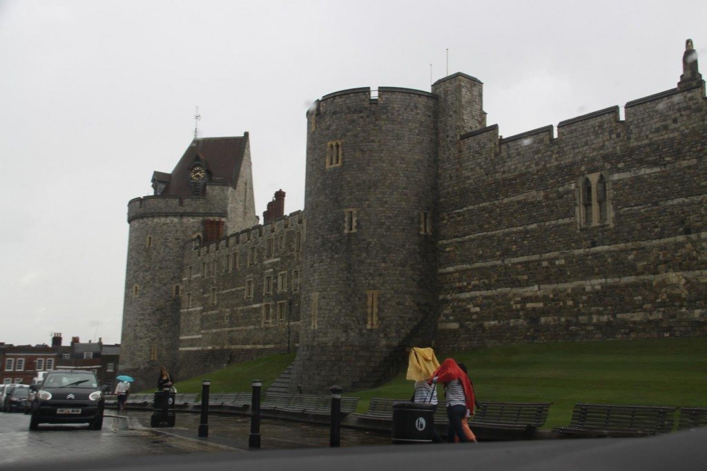 A Glimpse of Windsor Castle  Through the Pouring Rain Before Driving to Heathrow