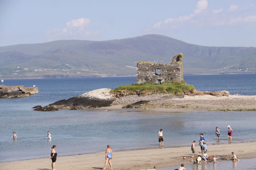 428 The Beach at Ballinskelligs with the ruins of McCarthy's Castle in the Background is Popular Today