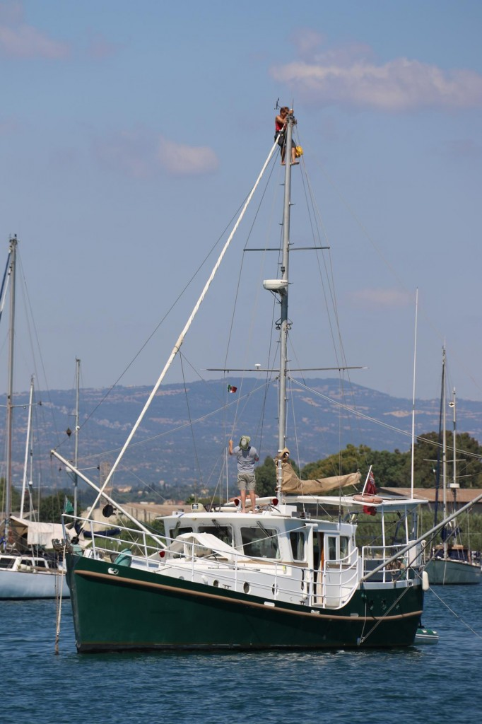 There is a brave person high up the mast of the 'Destiny'