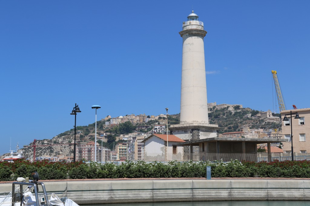 The conspicuous lighthouse by the marina which beams light around in a circle every 6 seconds at night