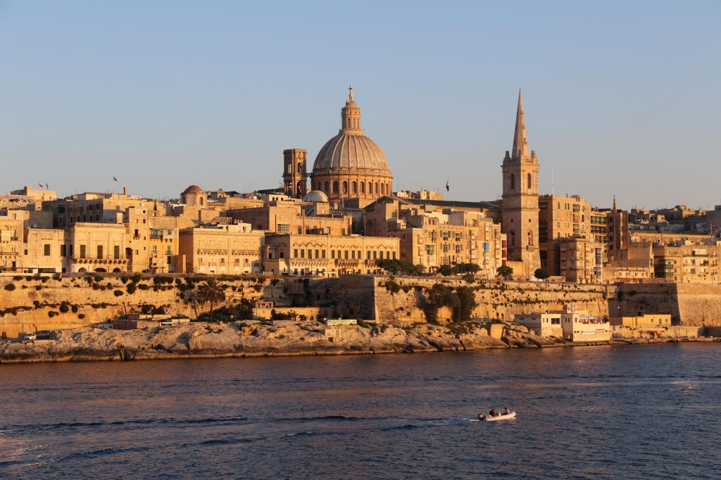 The Buildings in Valletta Glow in the Evening Light