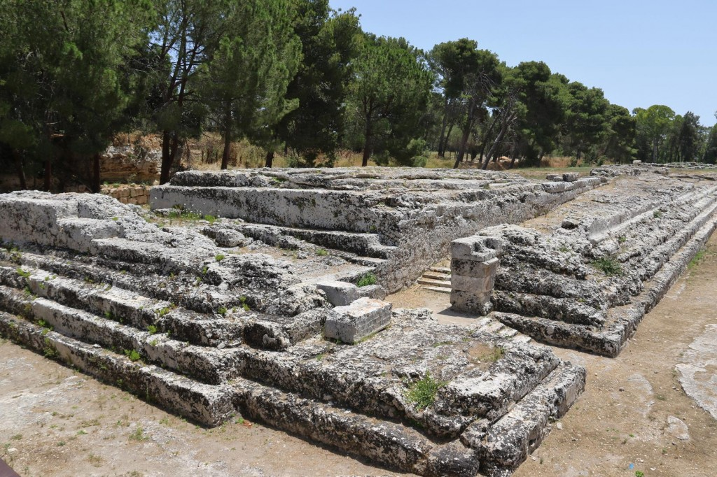 The stepped base of the large ancient Alter of Hieron 11 which was a sacrificial site