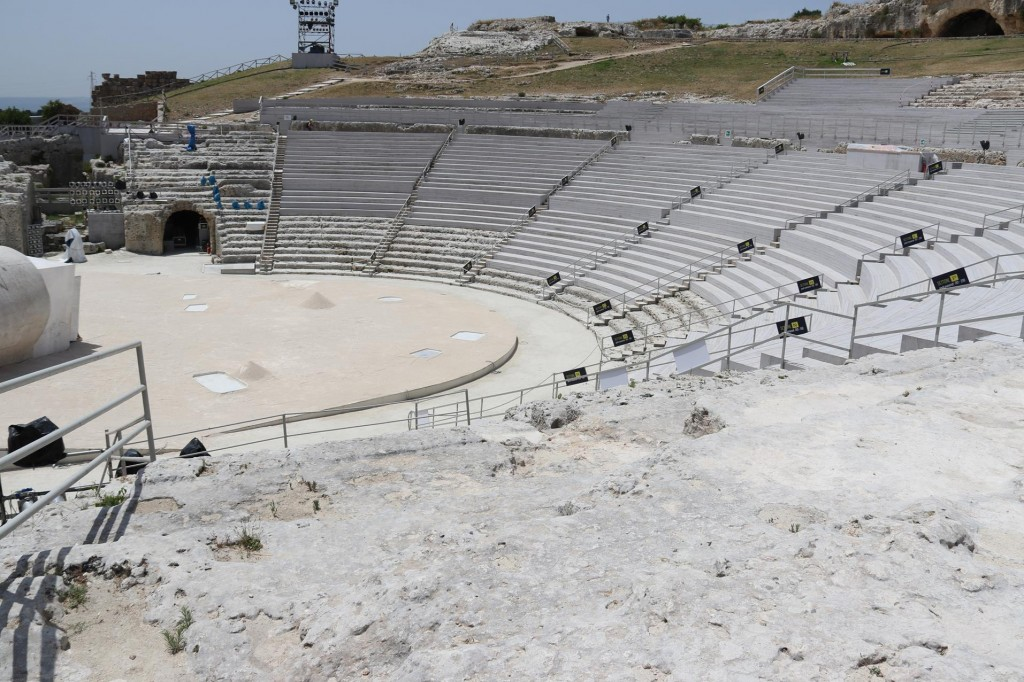 The Greek Theatre which is set up for a live production this evening