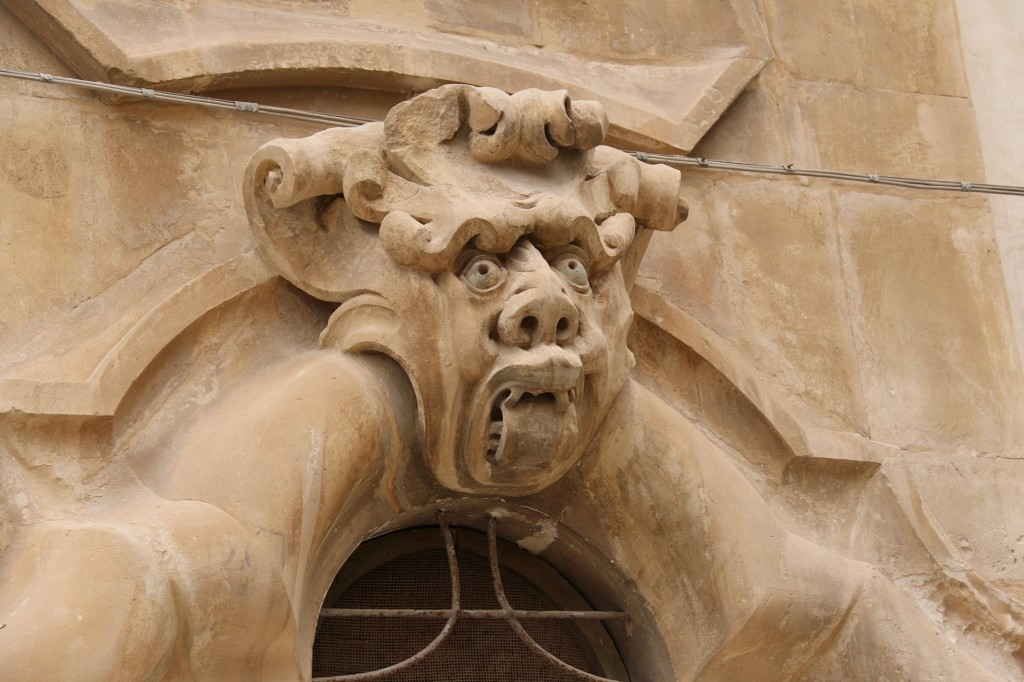 One of the amazing carved figures above one of the windows of the Baroque Palazzo