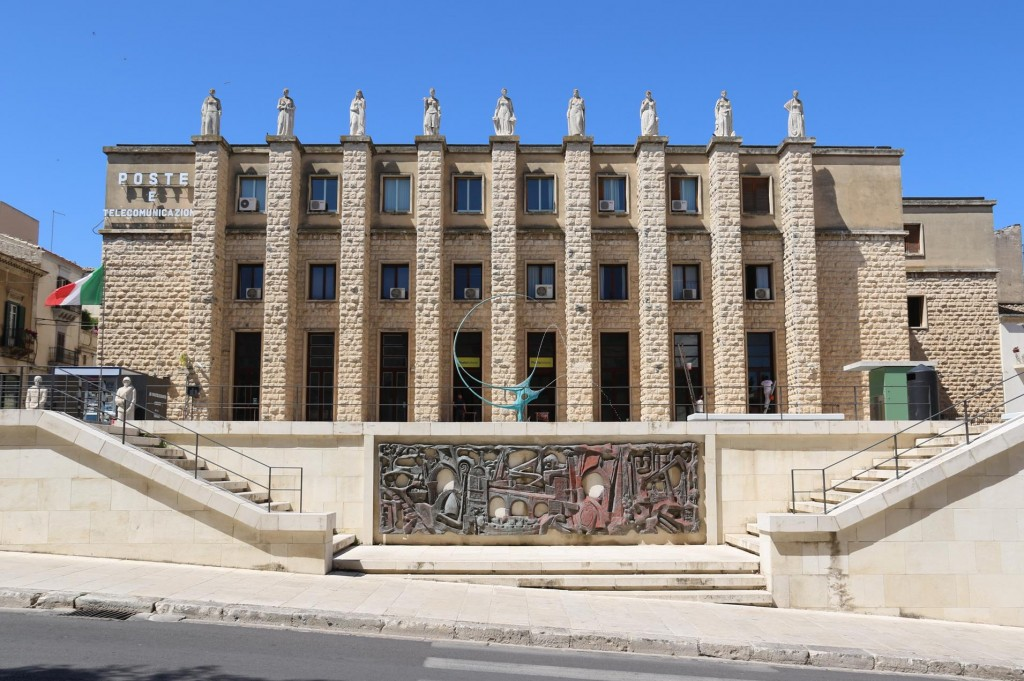 The modern Post Office in Ragusa is adorned with sculptures