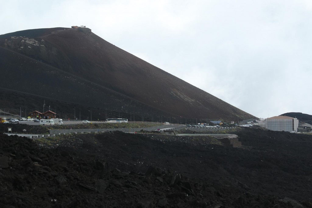We approach the car park of the Mt Etna summit which also is the beginning of the cable cars
