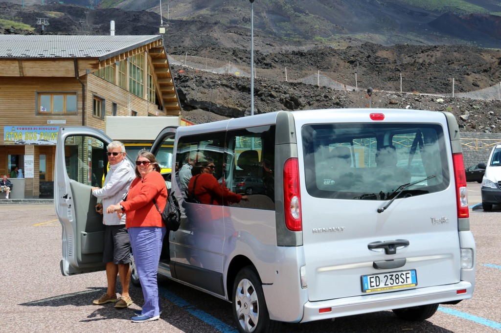 We hired a 7 seater so that the crew of our 3 boats could  do the sightseeing trip to Mt Etna and Noto together