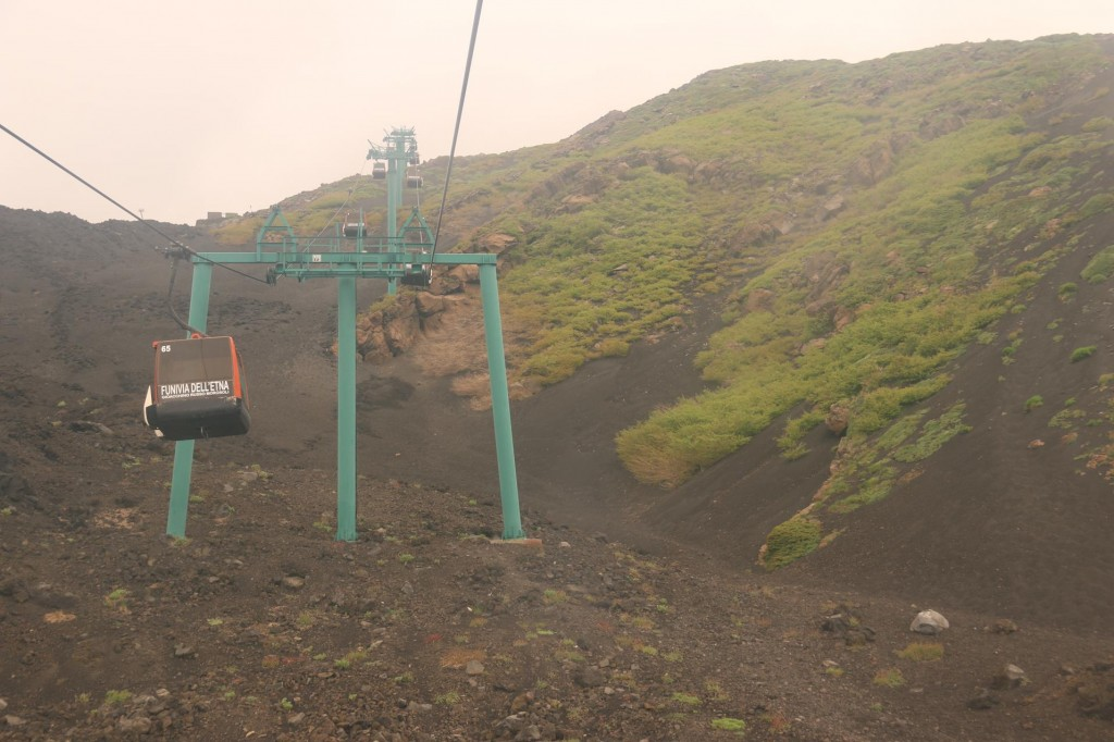 Half of our group bought tickets for the return cable car trip to the summit of Mt Etna