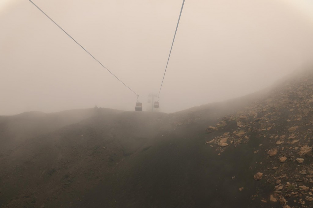 As we climbed higher in the cable car, the visibility got worse
