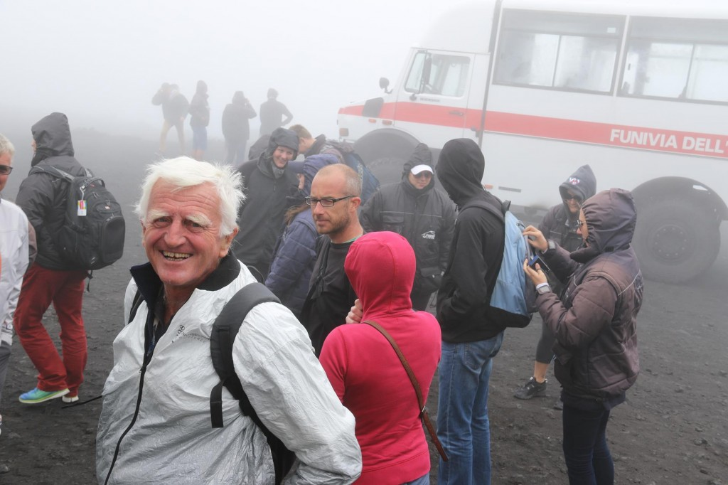Once we arrived at the summit the freezing conditions hit us as we descended from the bus
