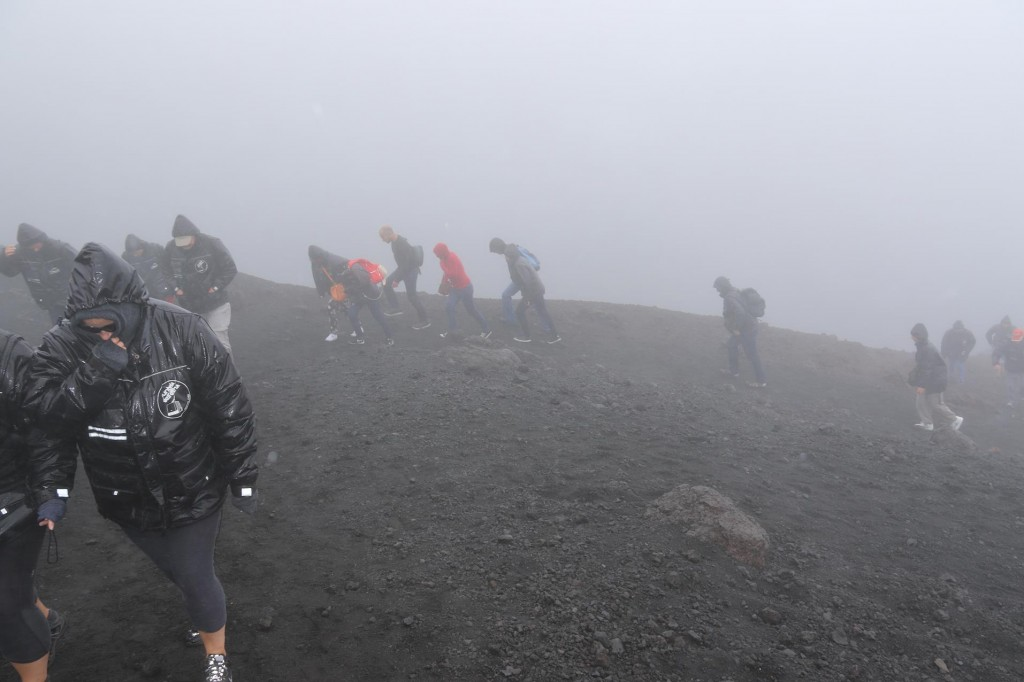 This photo says it all about the cold miserable conditions at the summit od Mt Etna today!!