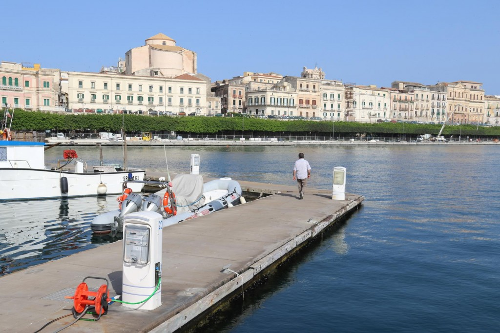 We have a wonderful view of Ortigia Island from our berth at the Marina