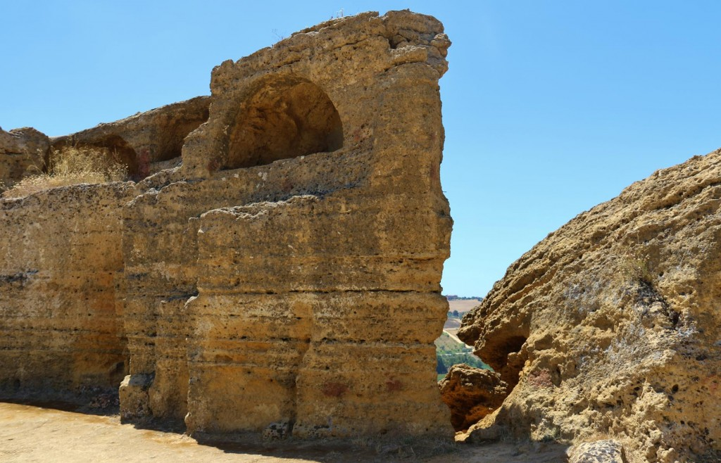 Burial tombs cut into the ancient city wall