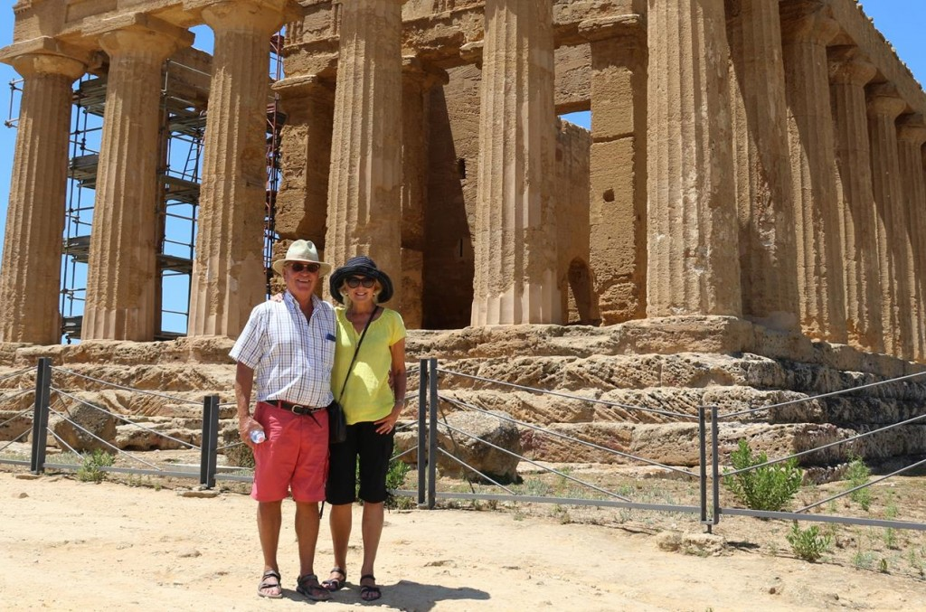 A photo of us together in front of the 5th Century BC Temple of Concord