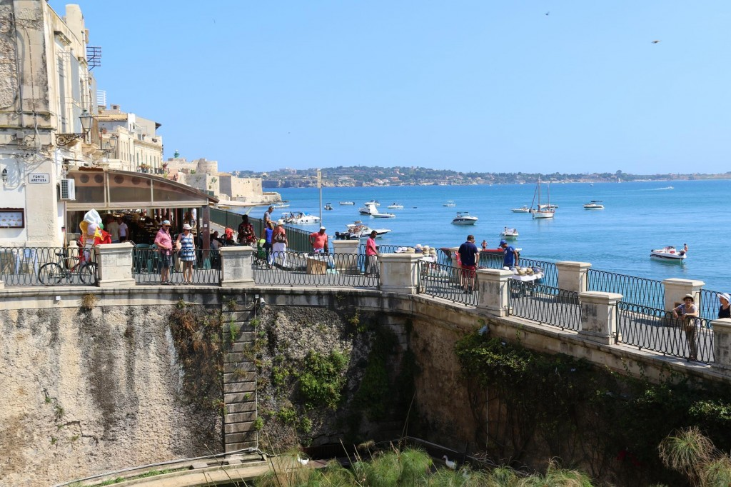 Looking towards the entrance to the Grand Harbour in Siracusa